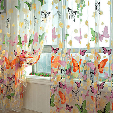 1MX2M Butterfly Printed Tulle Door Window Balcony Sheer Panel Screen Curtain Colorful Y1