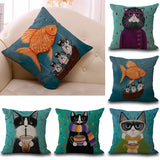 18inch Fashion Cats Cotton Linen Pllow Case Waist Pillow Cover Cool Cat Design Pillowcase For Home Hotel