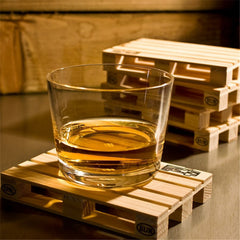 4pcs/set Rectangle Mini Wooden Pallet Coaster Set Whiskey Wine Glass Cup Mat Pad Hot Cold Drink Wood Table Mat Bar Tool IC878076
