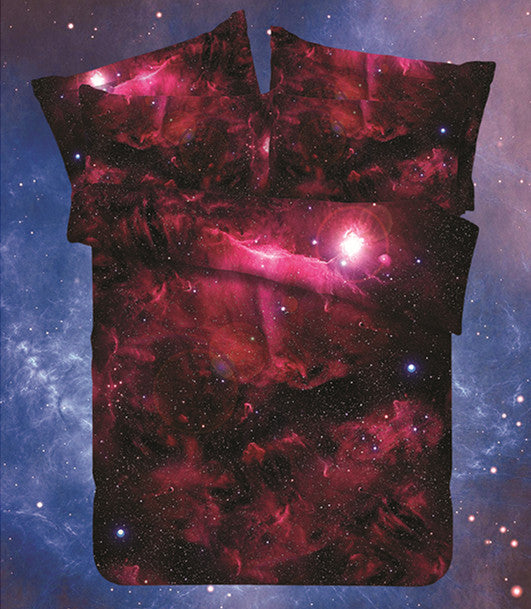 as / Queen 4pcsHipster Galaxy 3D Bedding Set Universe Outer Space Themed Galaxy Print Bedlinen Duvet cover & pillow case queen SIZE