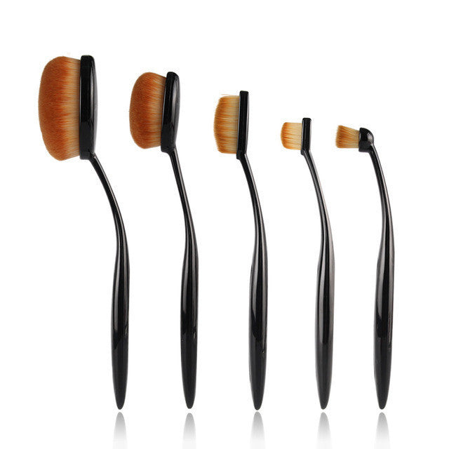 Black5 Pcs Cosmetic Oval Toothbrush Blush Powder Foundation Beauty Eyeshadow Makeup Brushes Set Kit Accessories High Qality