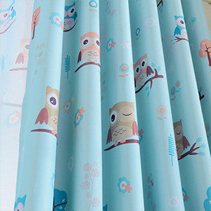 Blue curtain / W100cm x L200cm / 1 Tab Top2015 cartoon owl shade blinds finished window blackout curtains for children kids bedroom windows treatments