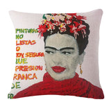 "Square 18"" Cushion Cover Frida Kahlo Colorful Flowers Pillowcase Woven Pillow Covers Polyester&Linen Home Decor Drop"