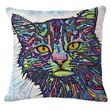 Cartoon Style Decor Cotton Linen Cushion Multicolor Cat Pattern Print Sofa Throw Pillow Home Decor Square