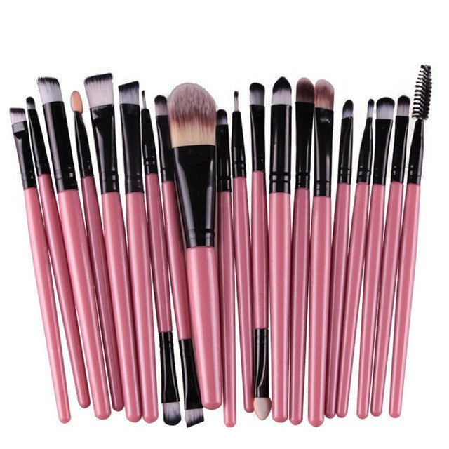 Pink black rod tube20pcs Eye Makeup Brushes Set Eyeshadow Blending Brush Powder Foundation Eyeshadading Eyebrow Lip Eyeliner Brush Cosmetic Tool