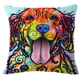 Animal Series Cartoon Style Throwpillow Decor Cushion Linen Cotton Colorful Dog Printed Pattern Throw Pillow Cushion Home Decor