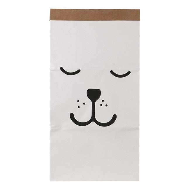 01Canvas Storage Bag Large Cartoon Heavy Kraft Paper Bag Children Room Organizer Bag Patterns Laundry Pouch for Baby Toy Clothings