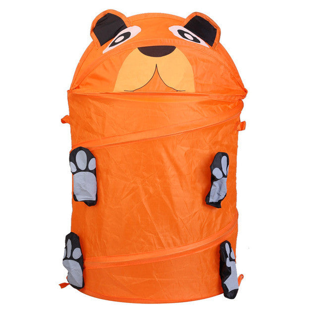 Orange9 Style Cute Cartoon Animal Storage Bucket Lovely and Fashion Folding Cylinder Laundry Basket Toy Box