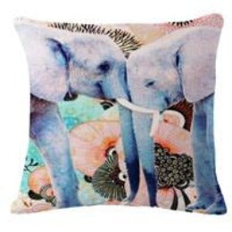 01 / 45x45cmColorful India Elephant Cotton Linen Pillow Case 18 inch Square Chair Waist Pillow Cover Home Garden Textile