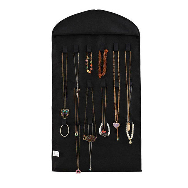 Black32 Pockets Jewelry Hanging Organizer Earrings Necklace Jewelry Display Holder Dual Sided Jewellery Storage Bag Display Pouch