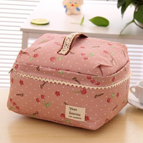 CherryPortable Cosmetic Bag Lingerie Bra Underwear Dot Bags Makeup Organizer Storage Case Travel Toiletry Bag