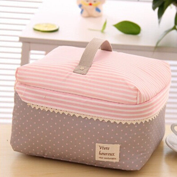 Dot GreyPortable Cosmetic Bag Lingerie Bra Underwear Dot Bags Makeup Organizer Storage Case Travel Toiletry Bag