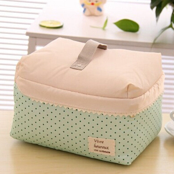 Dot GreenPortable Cosmetic Bag Lingerie Bra Underwear Dot Bags Makeup Organizer Storage Case Travel Toiletry Bag