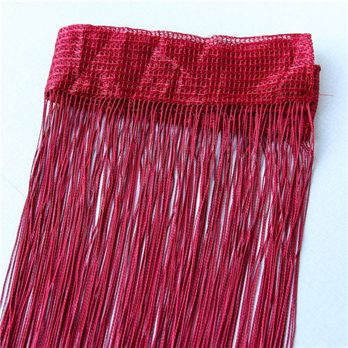 Red wine2m*1m 12 Colors String Curtains Door Window Panel Curtain Divider Yarn String Curtain Strip Tassel Drape Decor for Living Room