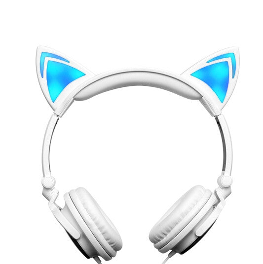 WhiteFoldable Flashing Glowing Cat Ear Headphones Earphone With LED Light Gaming Headset Headband For PC Gamer Computer Mobile Phones