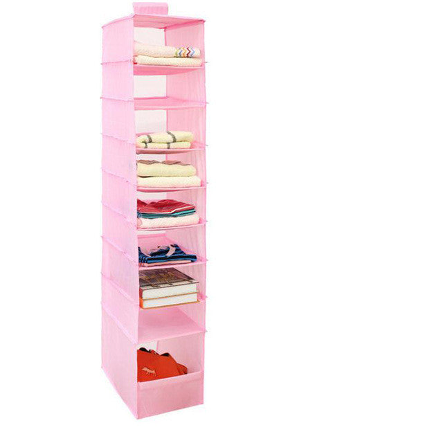 Pink9 Cell Hanging Box Underwear Sorting Clothing Shoe Jean Storage Mails Door Wall Closet Organizer Closet Bag
