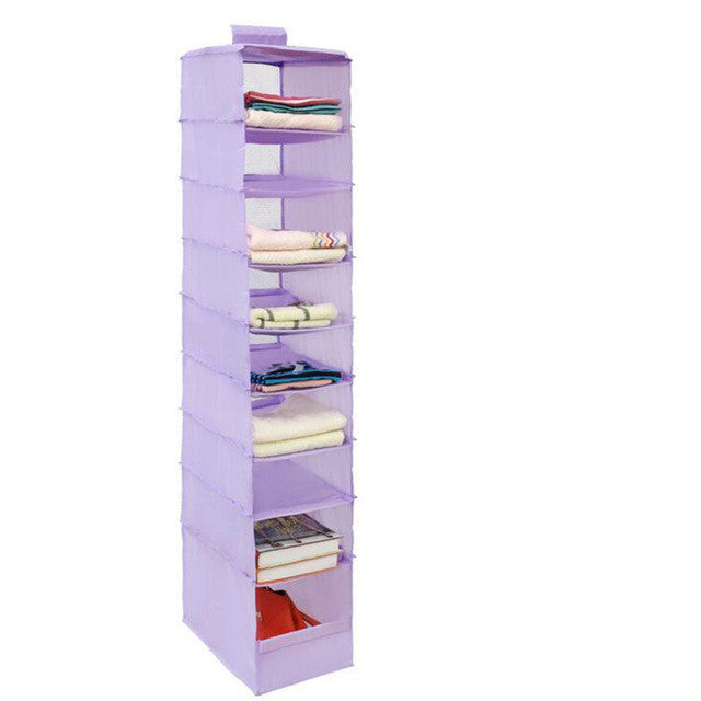 Purple9 Cell Hanging Box Underwear Sorting Clothing Shoe Jean Storage Mails Door Wall Closet Organizer Closet Bag