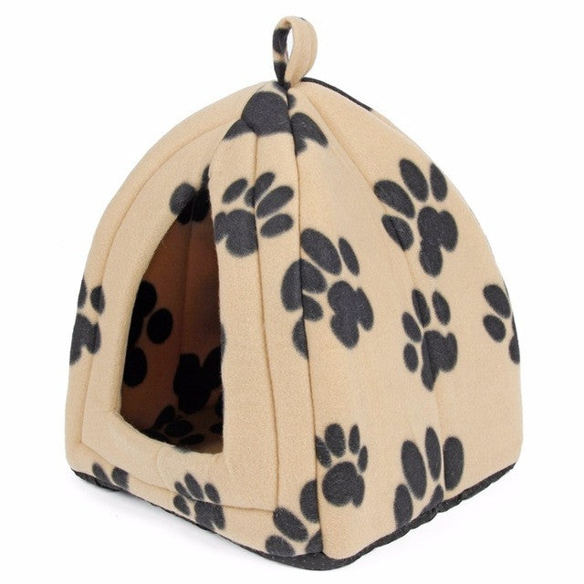 Light yellow Paw / MCat House and Pet Beds 5 Colors Beige and Red Purple, Khaki, Black with Paw Stripe, White with Paw Stripe
