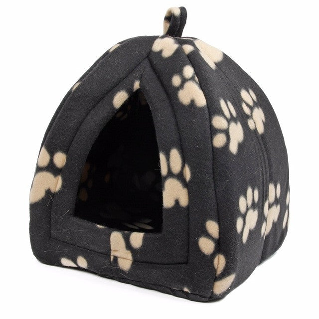 Cat House and Pet Beds 5 Colors Beige and Red Purple, Khaki, Black with Paw Stripe, White with Paw StripeBlack PawMCELEBRITYSTYLEFASHION