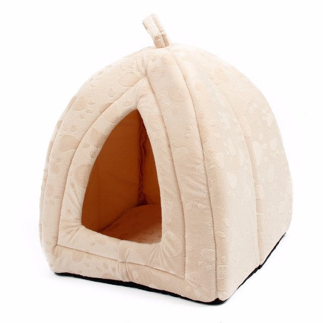 Cat House and Pet Beds 5 Colors Beige and Red Purple, Khaki, Black with Paw Stripe, White with Paw StripeBeigeMCELEBRITYSTYLEFASHION