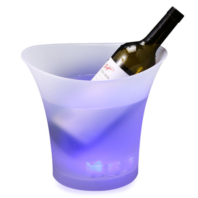 Purple5L Colorful Plastic LED Ice Bucket Color Changing Bars Nightclubs LED Light Up Champagne Beer Bucket Bars Night Party