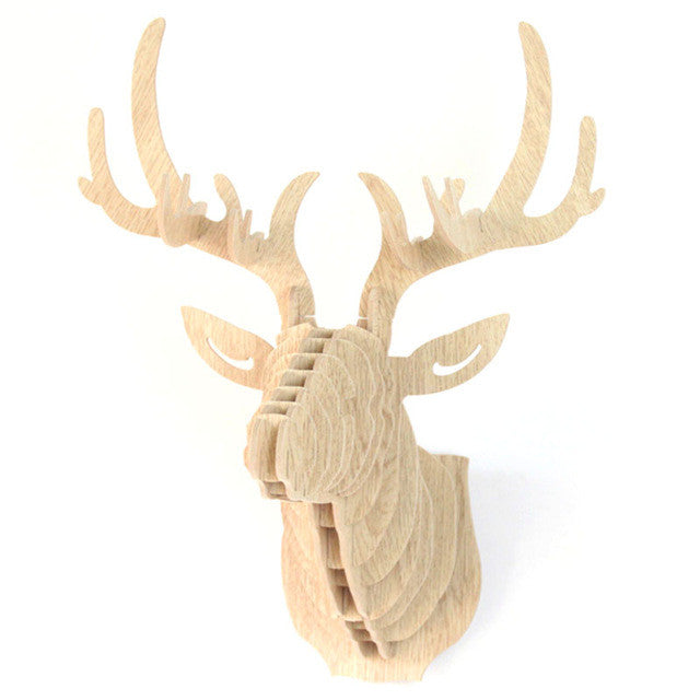 Creamy White3D Puzzle Wooden DIY Creative Model Wall Hanging Deer Head Elk Wood Gift Craft Home Decoration Animal Wildlife