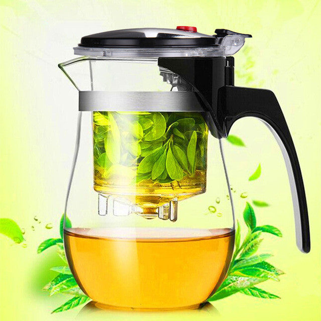 01500ml Heat Resistant Glass Tea Pot Flower Tea Set kettle Coffee Teapot Convenient Office Teaset 1pcs