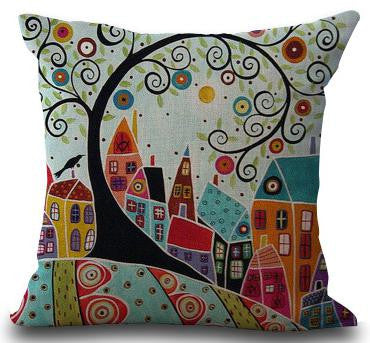 Hand Painted Abstract House Trees Linen Cotton Decorative Pillow Best Hand Painted Decorative Pillows