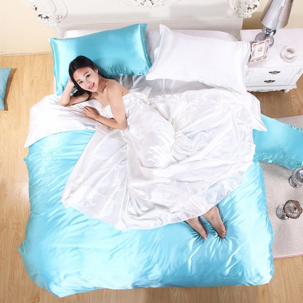 Sky Blue / QueenHOT! 100% pure satin silk bedding set,Home Textile King size bed set,bedclothes,duvet cover flat sheet pillowcases Wholesale