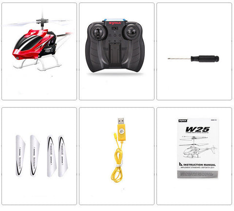 Syma Mini Indoor Aluminum RC Helicopter with Light Built in Gyroscope Remote Control Drone Toys Red Yellow Color
