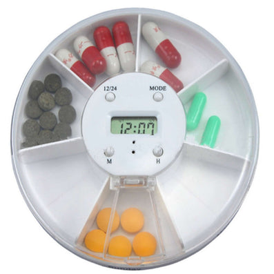 White Round 7-Day Pill Box Alarm Tablet Case Vitamin Medicine Kit Storage Dispenser Organizer Holder Portable