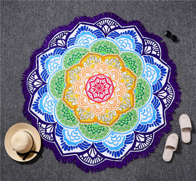 Purple TasselIndian Bohemian Mandalas Tapestry Totem Lotus Wall Hanging Sandy Beach Towels Yoga Mat Blanket Camping Mattress Bikini Cover Up