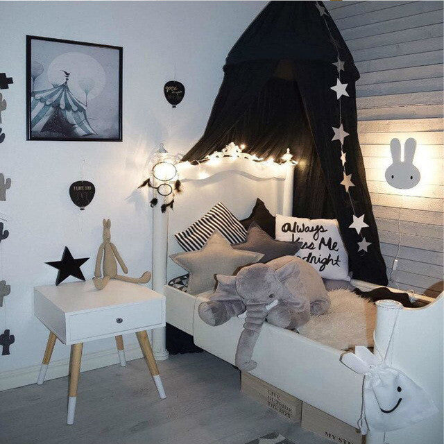 Beige White Grey Pink Kids Boys Girls Princess Canopy Bed Valance Kids Room Decoration Baby Bed Round Mosquito Net Tent
