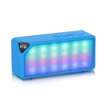 BlueYCYY X3S Mini Wireless Colorful LED Lights Bluetooth 2.0 Speaker Support Handsfree TF AUX FM Radio for Smartphone