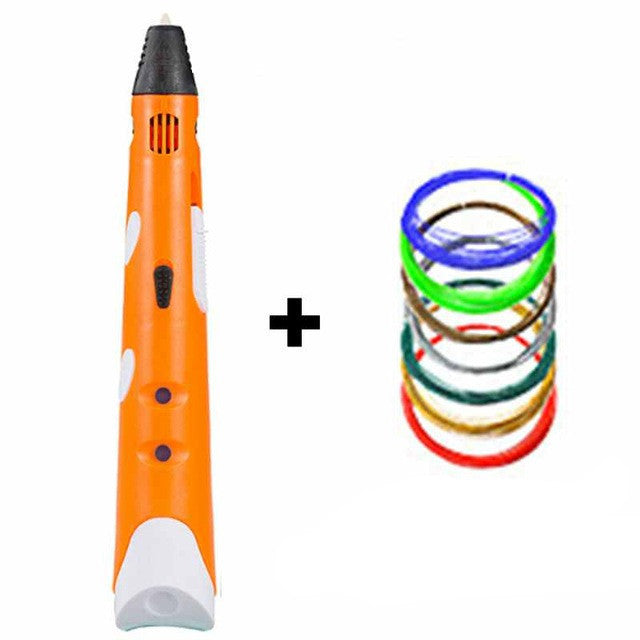 OrangeMyriwell MR RP-100A Magic 3d printer pen Drawing 3D Pen With 3Color ABS filaments 3D Printing 3d pens for kids birthday present