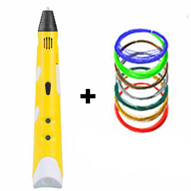 YellowMyriwell MR RP-100A Magic 3d printer pen Drawing 3D Pen With 3Color ABS filaments 3D Printing 3d pens for kids birthday present