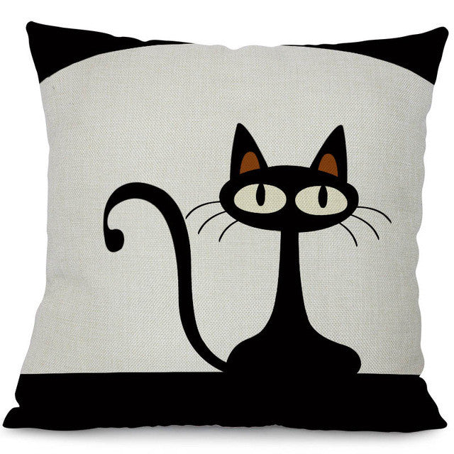 1 / 44x44cm No FillingMiracille Square Cotton Linen Black Climbing Cat Animals Printed Decorative Throw Pillows Home Decor Cushion For Sofas No Core