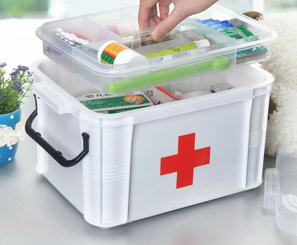 24x18x14Baffect Large Family Home Medicine Chest Cabinet Health Care Plastic Drug First Aid Kit Box Storage Box Chest of Drawers