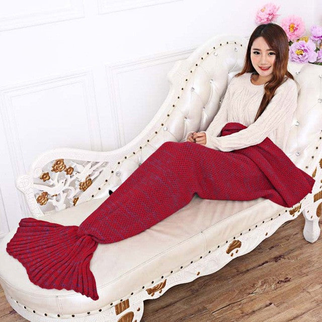 Red / 195x95cm195x95CM Yarn Knitted Mermaid Tail Blanket Soft Sleeping Bed Handmade Crochet Anti-Pilling Portable Blanket Air Conditioning