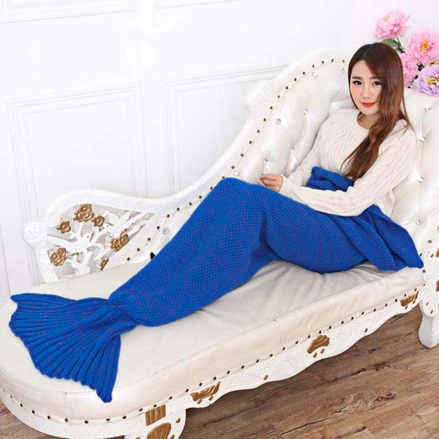 Deep blue / 195x95cm195x95CM Yarn Knitted Mermaid Tail Blanket Soft Sleeping Bed Handmade Crochet Anti-Pilling Portable Blanket Air Conditioning