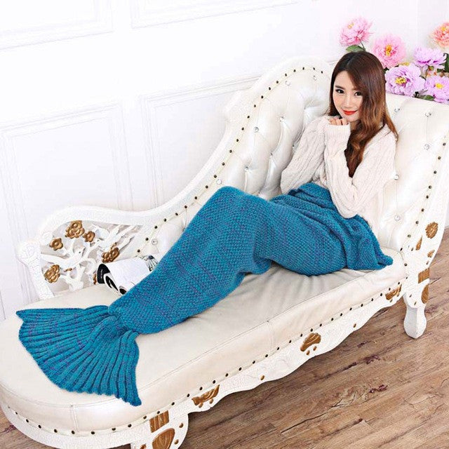Lake blue / 195x95cm195x95CM Yarn Knitted Mermaid Tail Blanket Soft Sleeping Bed Handmade Crochet Anti-Pilling Portable Blanket Air Conditioning