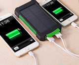 Waterproof 10000Mah Solar Power Bank Solar Charger Dual USB Power Bank with LED Light for iPhone 6 Plus Mobile Phone