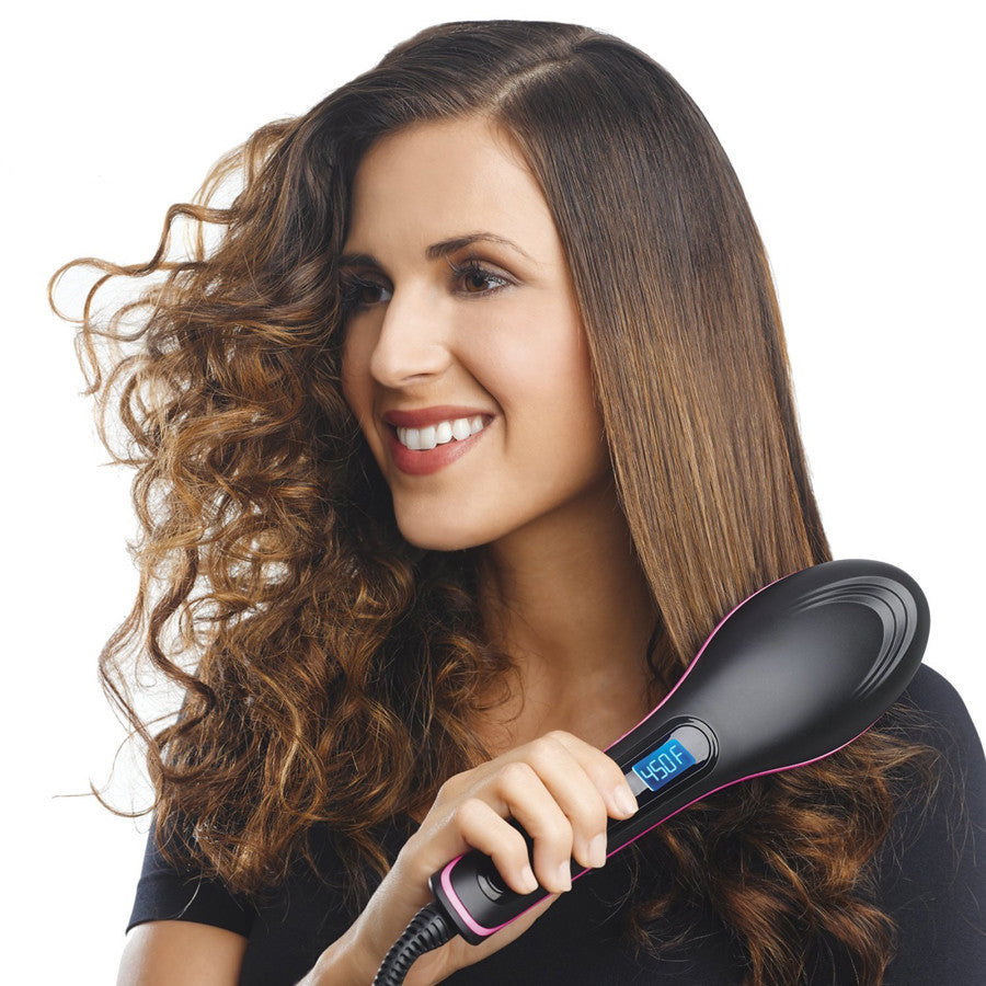 AU plugElectric Smoothing brush Hair Straightener Comb Professional Heating Straightening irons With LCD Display brush alisadora Style
