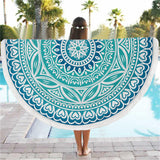 Multicolor Indian Round table cloth Large Lotus Print Beach Bath Towel tablecloth for table