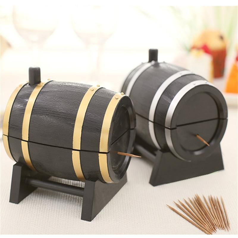 goldenWine Barrel Plastic Automatic Toothpick Box Container Dispenser Holder Popular New Retro Style Wine Barrel Home and Living