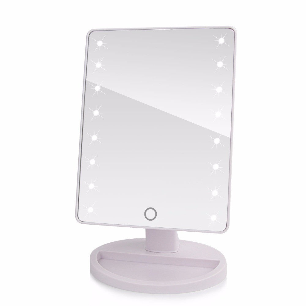white 16 led lights360 Degree Rotation Touch Screen Makeup Mirror Cosmetic Folding Portable Compact Pocket With LED Lights Makeup Tool