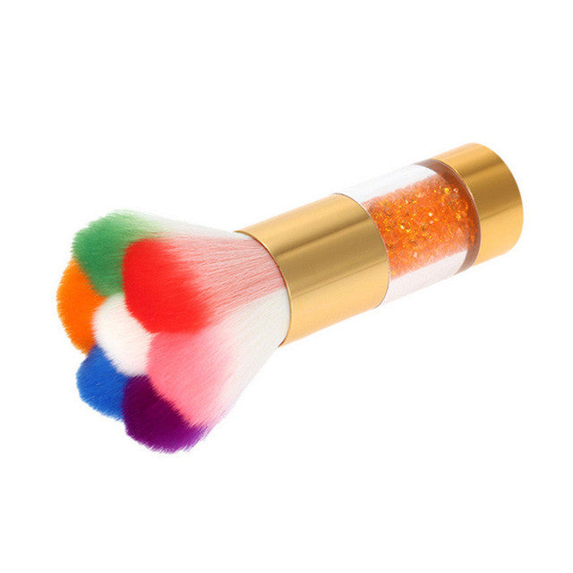 GoldenColorful Nail Dust Brushes Acrylic UV Nail Gel Powder Nail Art Dust Remover Brush Cleaner Rhinestones Makeup Foundation Tool