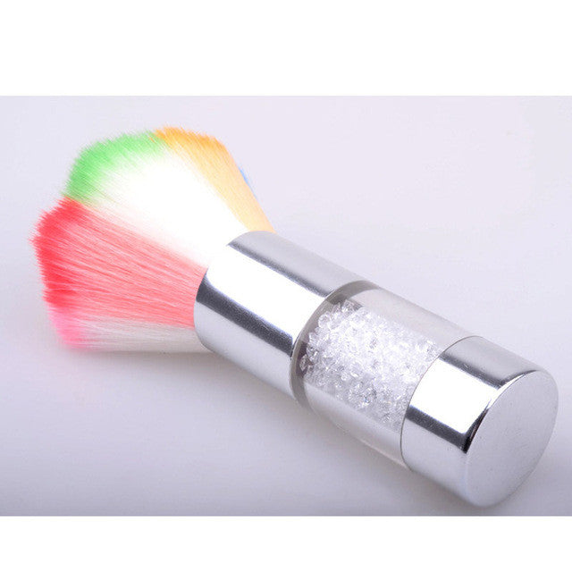 SilverColorful Nail Dust Brushes Acrylic UV Nail Gel Powder Nail Art Dust Remover Brush Cleaner Rhinestones Makeup Foundation Tool