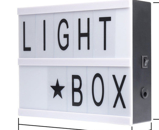 A5DIY Cinematic Light Box Battery USB Powered Lightbox A4 A5 Size With Letters Numbers Acrylic LED Lamp Figurines Desk Night Light