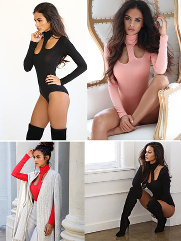 Knitted Hollow Long Sleeve Club Bodysuit - CelebritystyleFashion.com.au online clothing shop australia